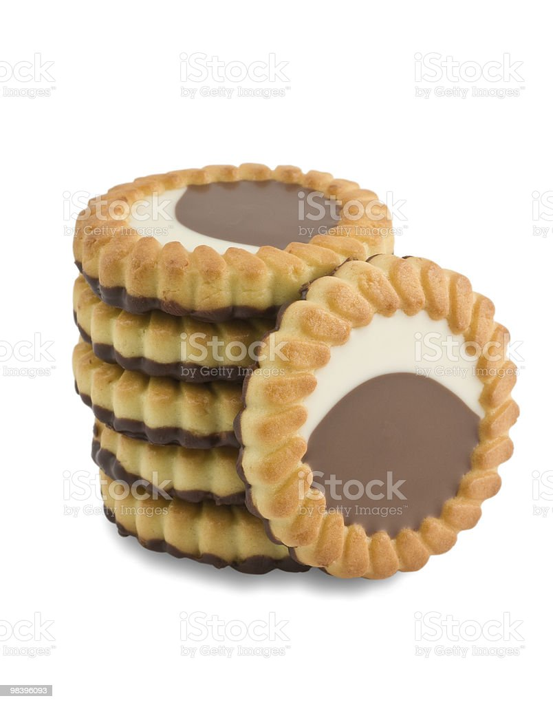 Biscuits with chocolate royalty-free stock photo