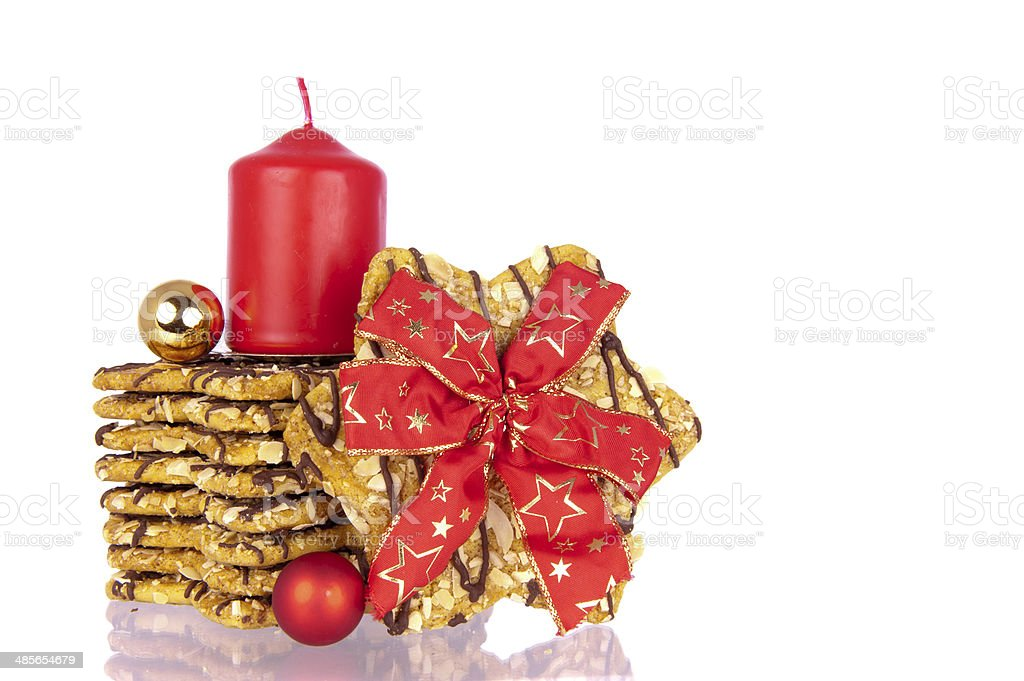 Biscuits Xmas ribbon balls candle stock photo
