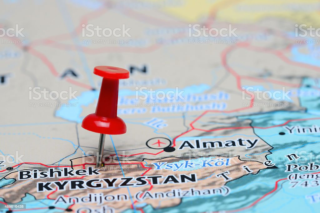 Bishkek pinned on a map of Asia stock photo