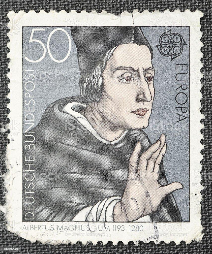 Bishop Albertus Magnus German Postage Stamp stock photo