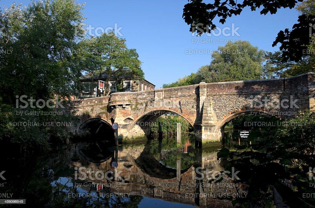 Bishop Bridge, Norwich stock photo