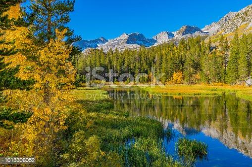 Sierra Nevada Mountains,  Sierra Nevada Range, Bishop Creek, Fall colors, Eastern Sierra's Fall, Fall with water