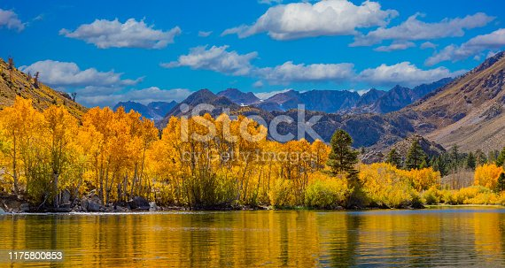 Peaceful autumn mountain scene with reflecting water; Mountain vacation; remote get away; adventure travel