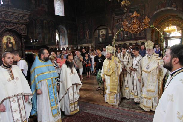 A bishops performing liturgy in an Eastern Orthodox church St. Sedmochislenitsi in Sofia, Bulgaria on august 15, 2012. stock photo