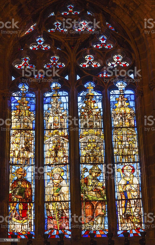 Bishops Stained Glass Seville Cathedral Spain royalty-free stock photo