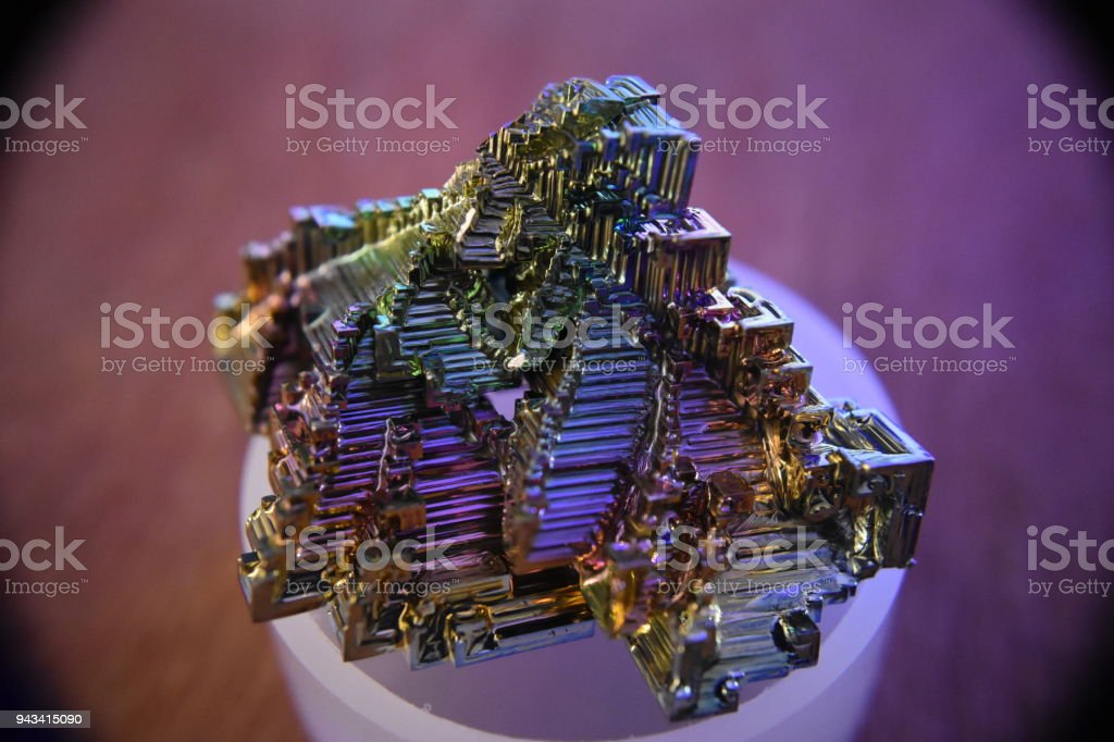Bismuth crystal under a macro lens stock photo