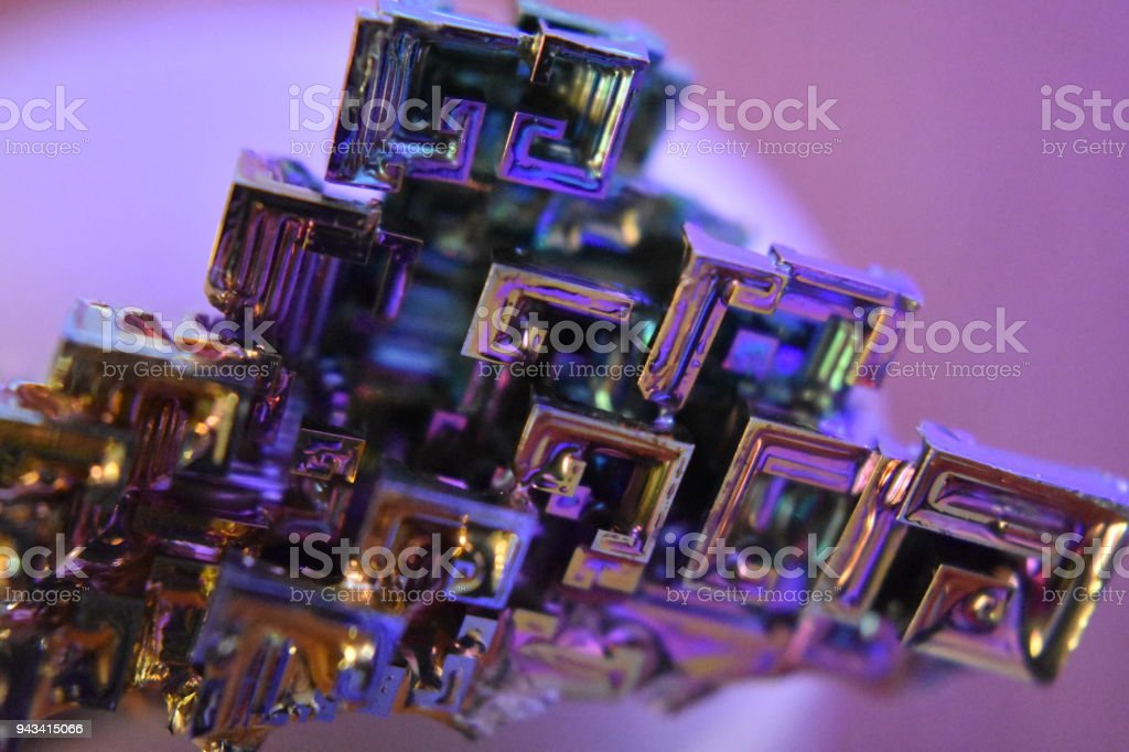 Bismuth mineral crystalization under Macro lens stock photo