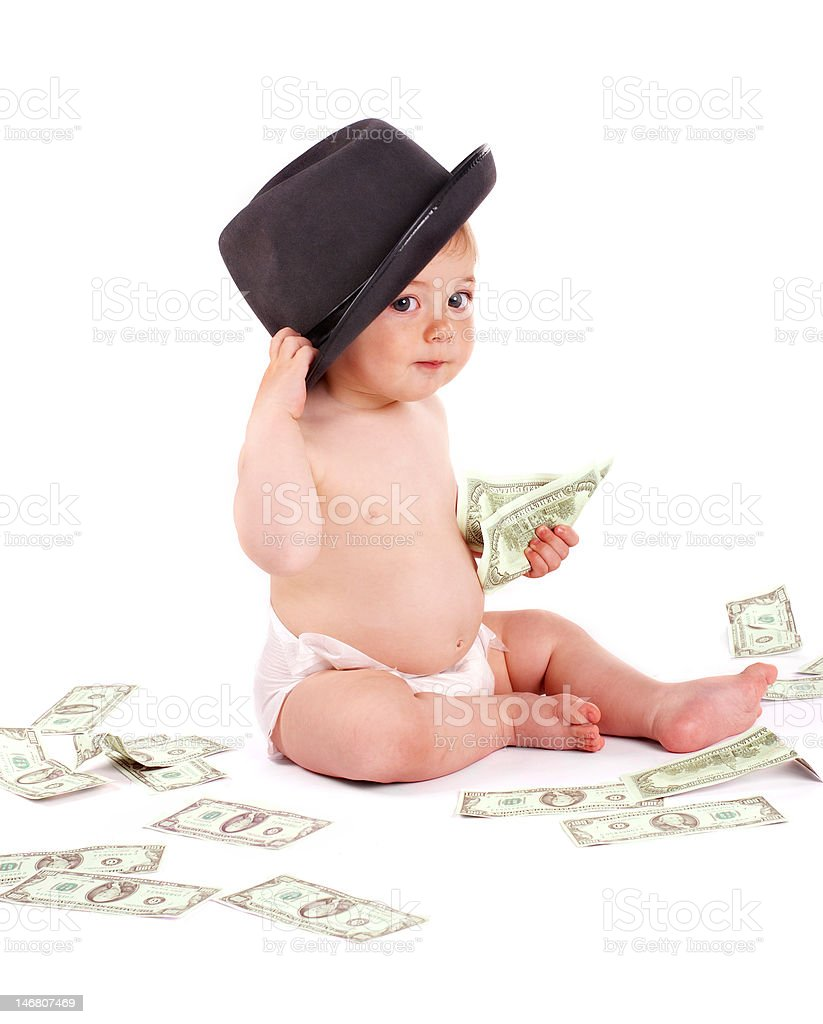 Bisness baby with money stock photo