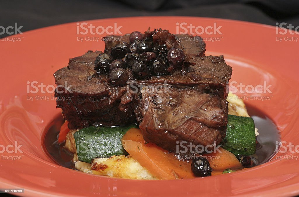 Bison Meat and Potato stock photo