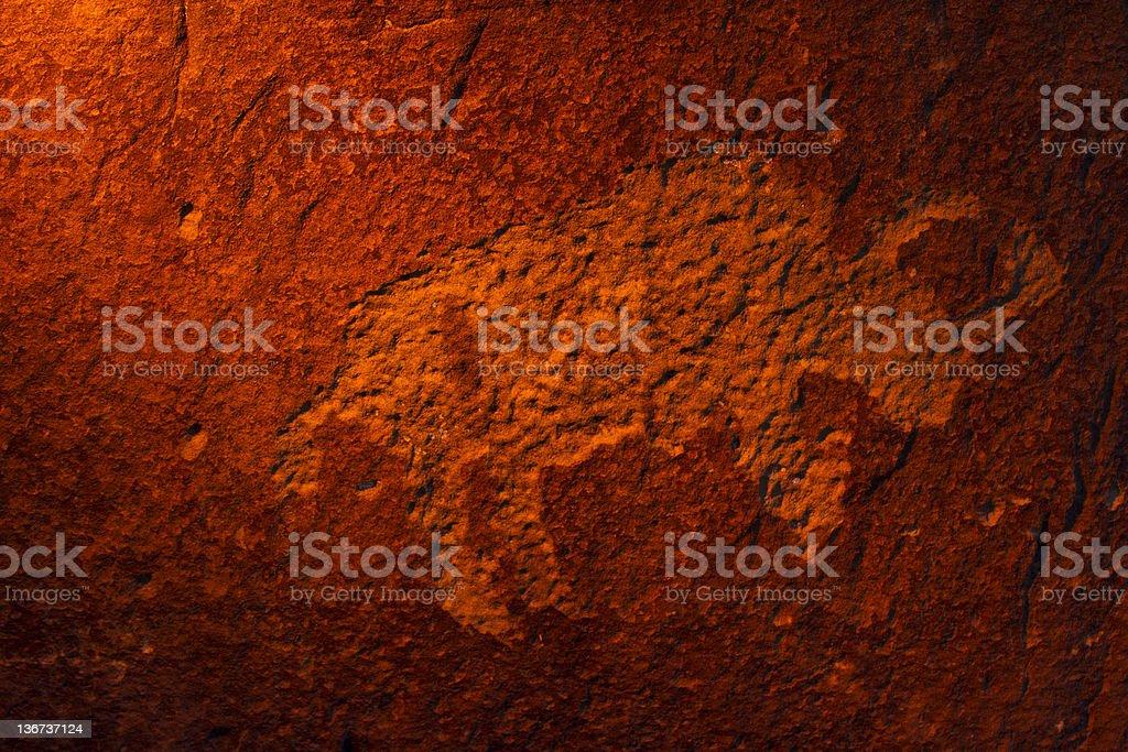 Bison Petroglyph stock photo
