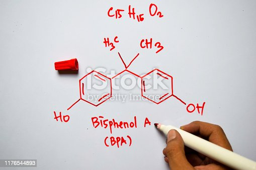 1168035793 istock photo Bisphenol A - BPA (C15,H16,O2) molecule written on the white board. Structural chemical formula. Education concept 1176544893