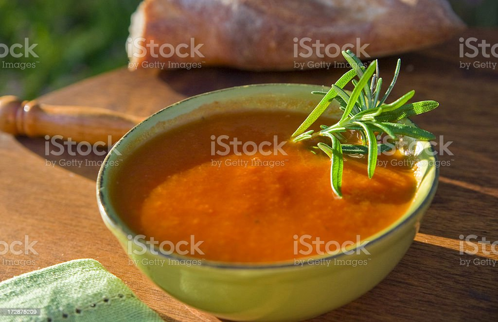 Bisque & Healthy Tomato Vegetable & Rosemary Soup Bowl, Summer Picnic Lunch stock photo