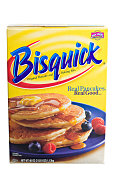 Chico, California, USA, -March 05,2011 : A yellow cardboard box with the Bisquick logo and a photograph of a plate full of mouthwatering pancakes. The box contains 40 OZ of Bisquick\'s pancake and baking mix. Bisquick is marketed by General Mills under the Betty Crocker brand,