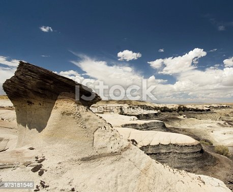 Desert landscape in New Mexico with bizarre rock formations