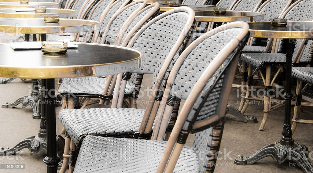 Bistro Chairs and Outdoor Cafe Tables, Paris, France (Close-Up) stock photo