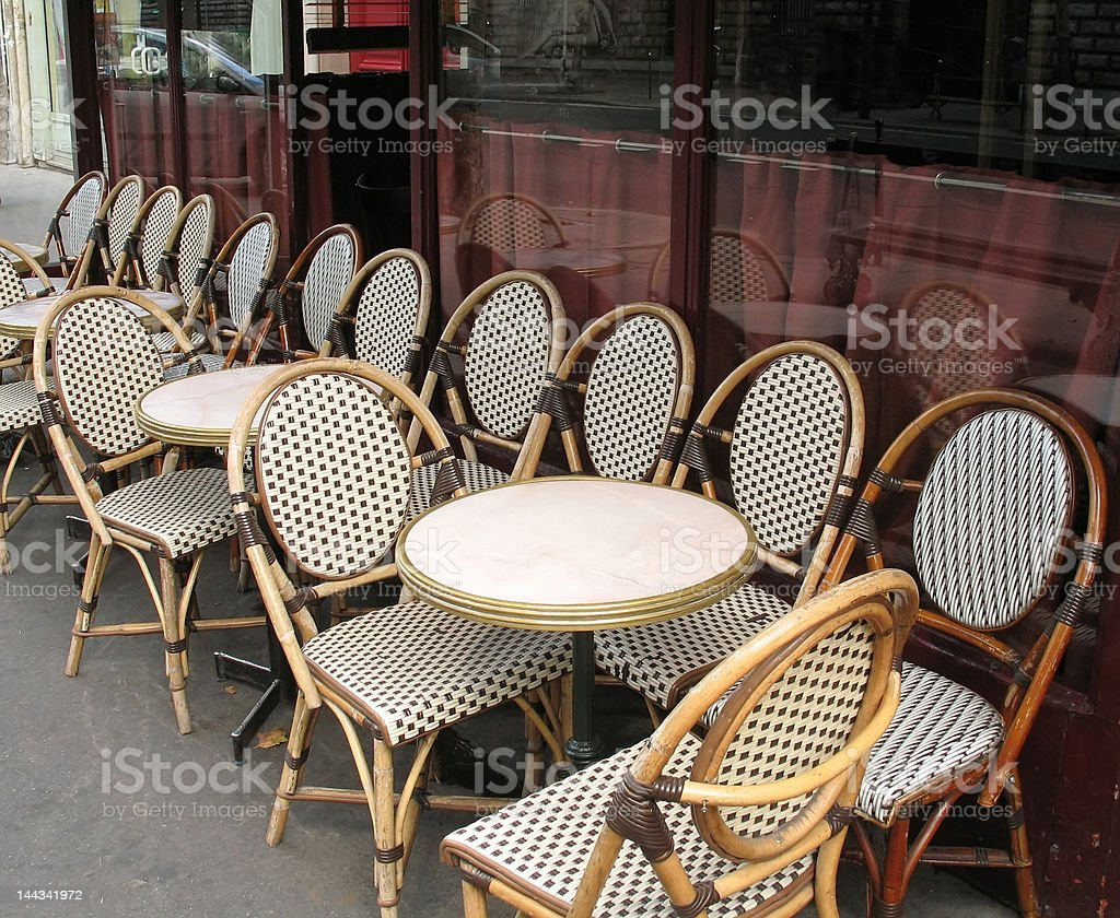 Bistro chairs in cafe stock photo