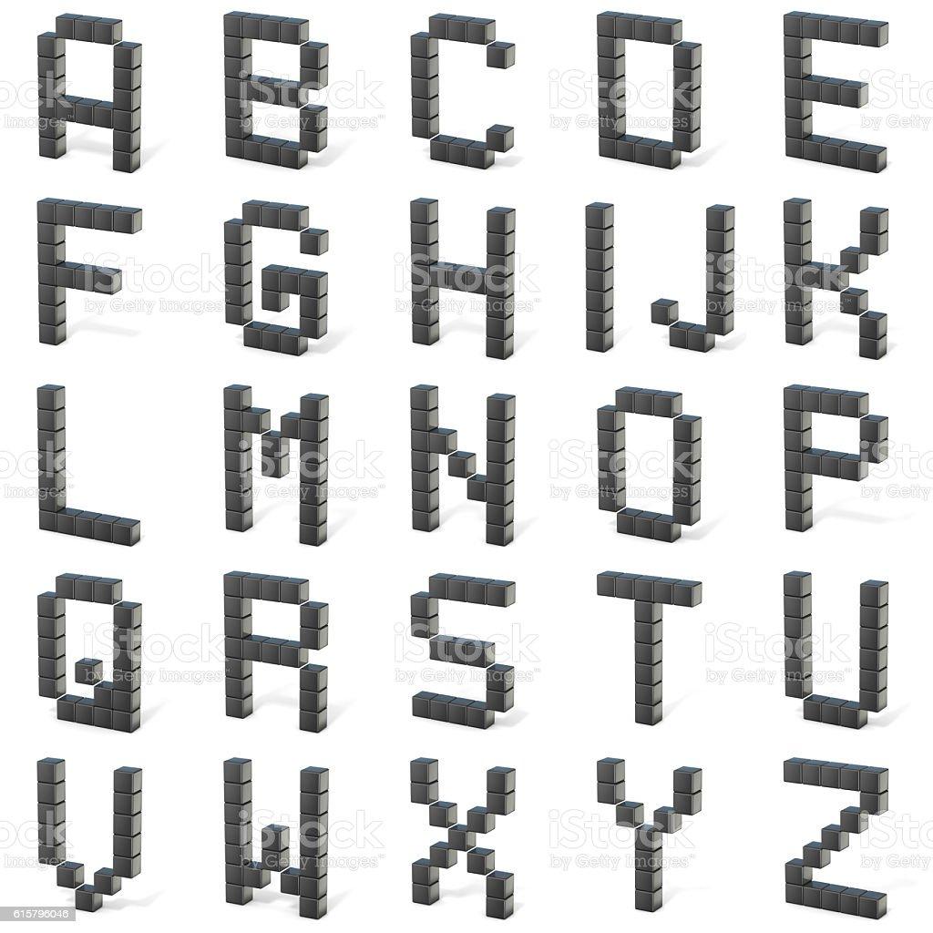 8 bit font. Capital letters ALL. 3D stock photo