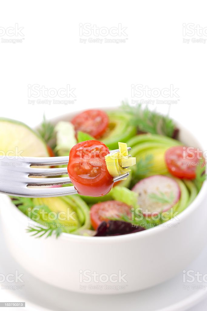 Bit of salad on the fork royalty-free stock photo