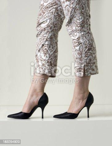 Intimidating legs in capris and stiletto heels