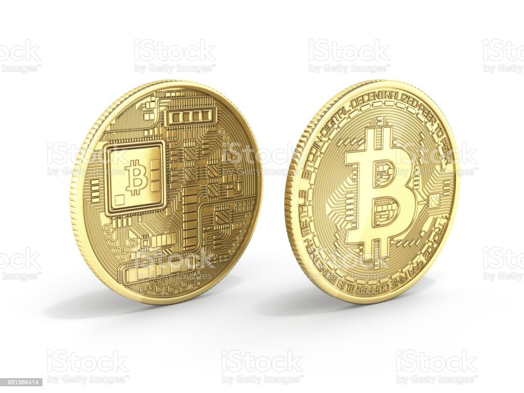 Bitcoin 3D isometric Physical bit coin in gold Digital currency Cryptocurrency Golden coins with symbol isolated on white background 3d render illustration stock photo