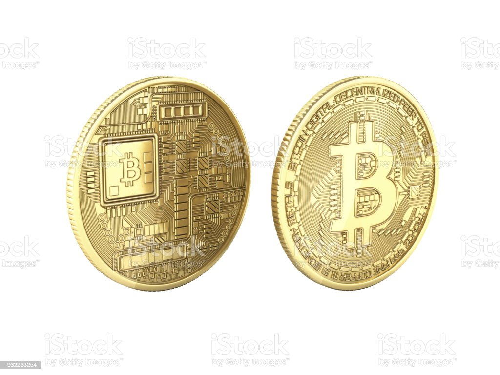 Bitcoin 3D isometric Physical bit coin in gold Digital currency Cryptocurrency Golden coins with symbol isolated on white background 3d render illustration without shadow stock photo