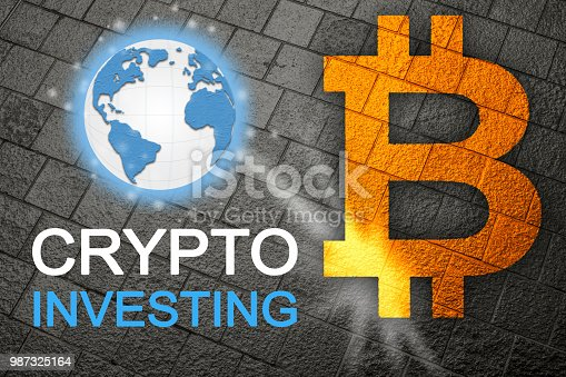 istock Bitcoin a new global currency for future cryptocurrency age where cryptos and BTC are the new business standard for the planet.  Global currency. 987325164