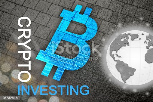 istock Bitcoin a new global currency for future cryptocurrency age where cryptos and BTC are the new business standard for the planet.  Global currency. 987325182
