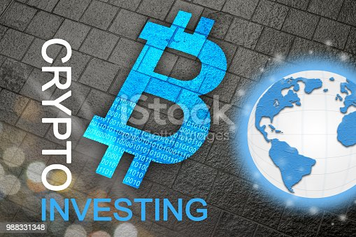 istock Bitcoin a new global currency for future cryptocurrency age where cryptos and BTC are the new business standard for the planet.  Global currency. 988331348