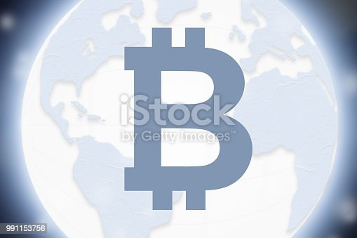 istock Bitcoin a new global currency for future cryptocurrency age where cryptos and BTC are the new business standard for the planet.  Global currency. 991153756