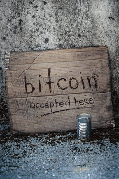 Bitcoin accepted here stock photo