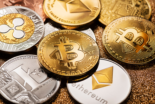 Ljubljana, Slovenia - may 14 Bitcoin and alt coins cryptocurrency close up shoot