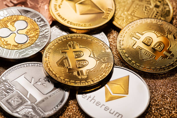 Bitcoin and alt coins cryptocurrency stock photo