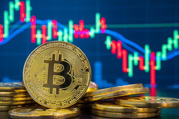 Bitcoin and Cryptocurrency Exchange Trading Market stock photo