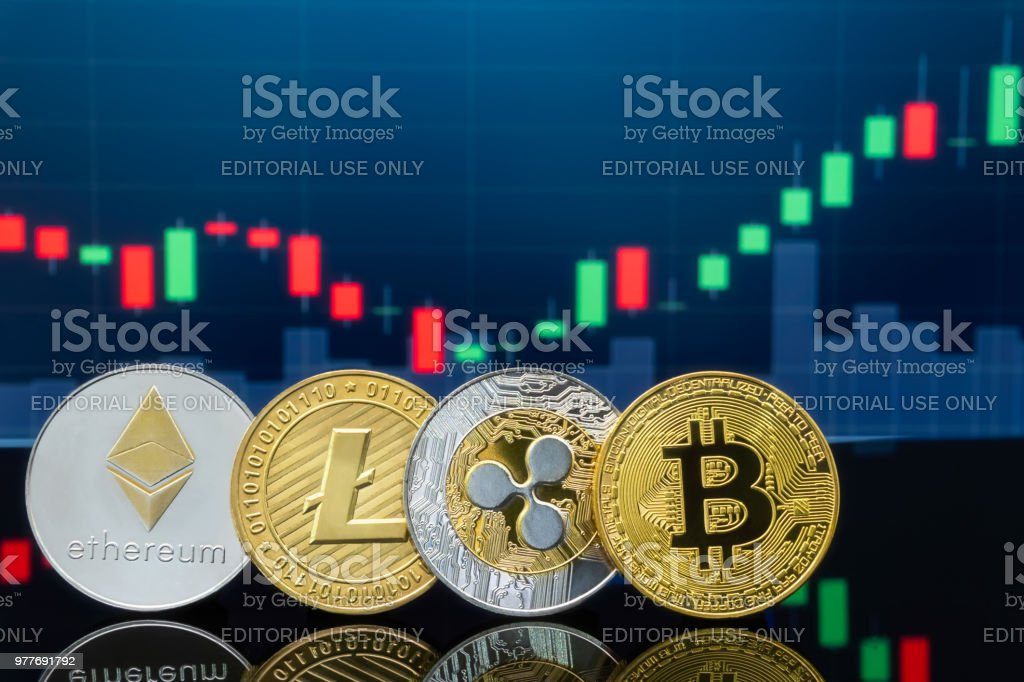 Bitcoin and cryptocurrency investing concept. stock photo
