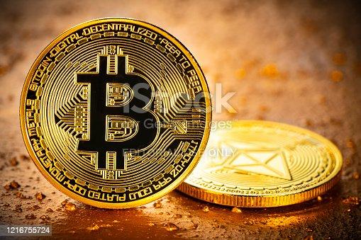 Bitcoin and Ethereum cryptocurrency blockchain closeup macro