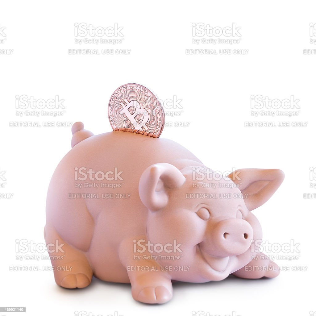 Bitcoin and Moneybox. stock photo