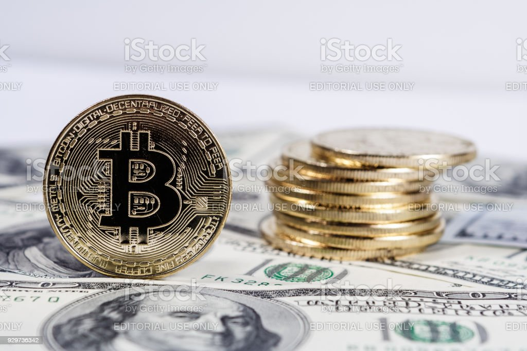 Bitcoin are fully dematerialized and decentralized electronic currencies that has seen an incredible increase in 2017 stock photo