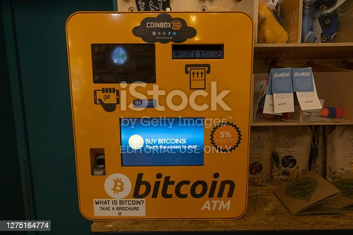 Yerevan, Armenia - May, 27, 2019: Coinbox Bitcoin ATM station, front view.
