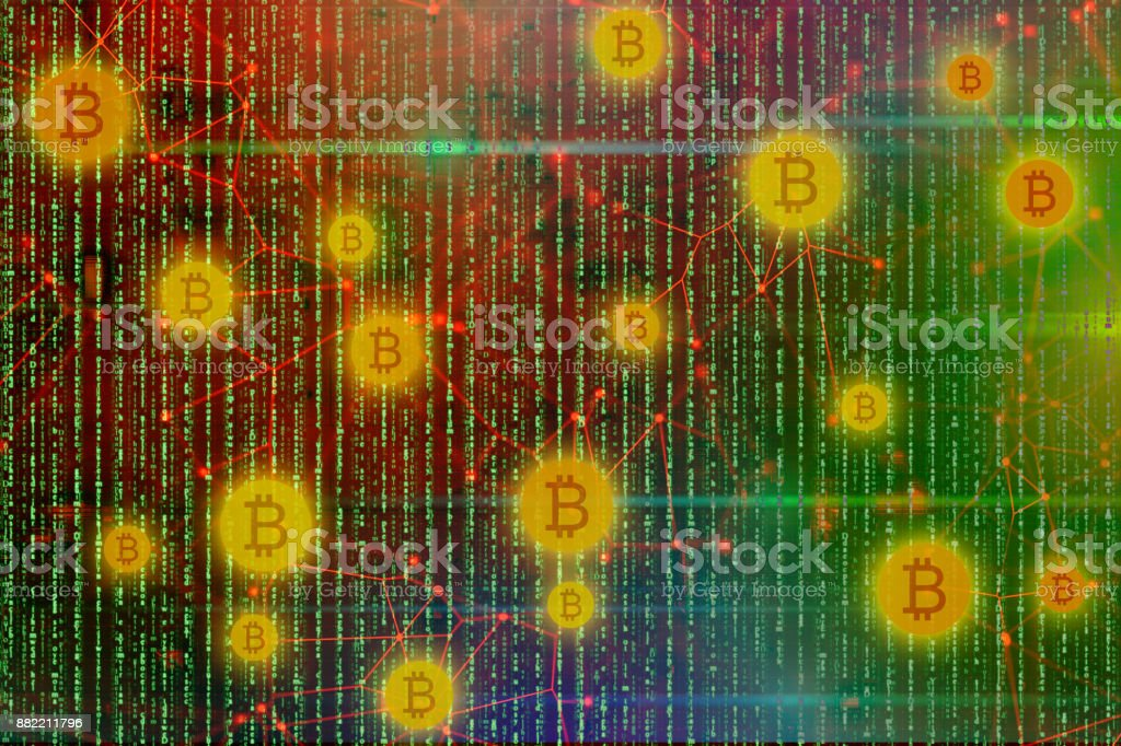 Bitcoin blockchain backgrounds stock photo