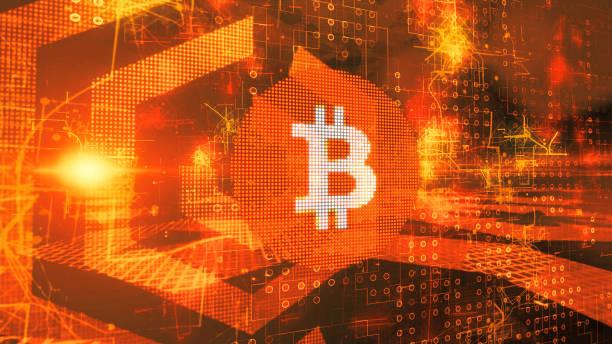 Bitcoin, Blockchain concept on server room background. stock photo