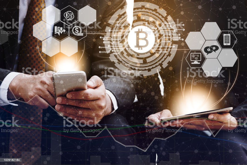 Bitcoin BTC and Cryptocurrency Trading Concept stock photo