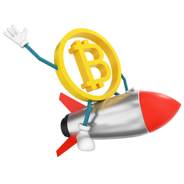 bitcoin character flying on rocket. 3d rendering - rocket logo stock photos and pictures