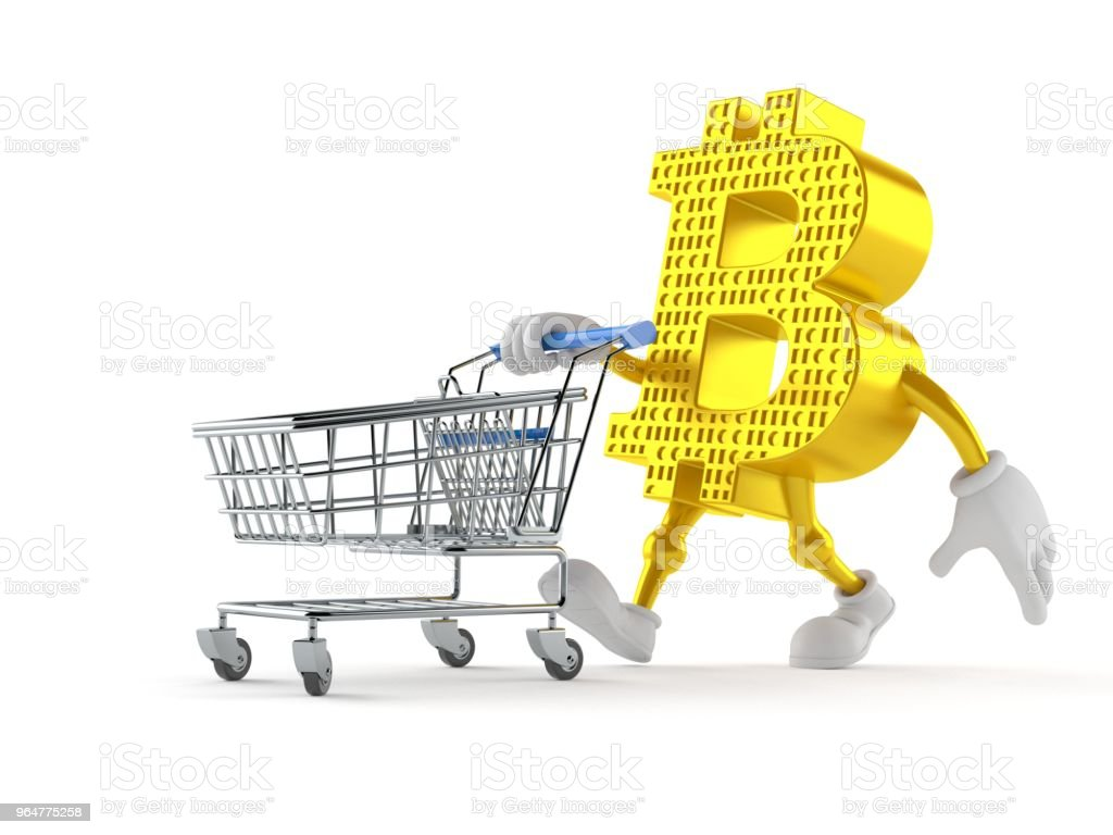 Bitcoin character with shopping cart royalty-free stock photo