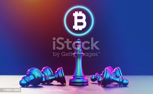 Bitcoin Chess Concept, Bitcoin Cryptocurrency Concept, Bitcoin Strategy With King Chess