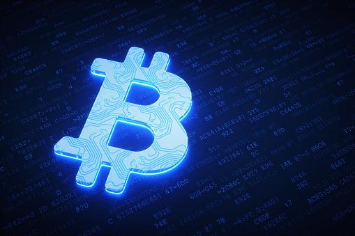 Bitcoinschaltunglogo Auf Dunklen Daten Oberfläche Stockfoto Und Mehr