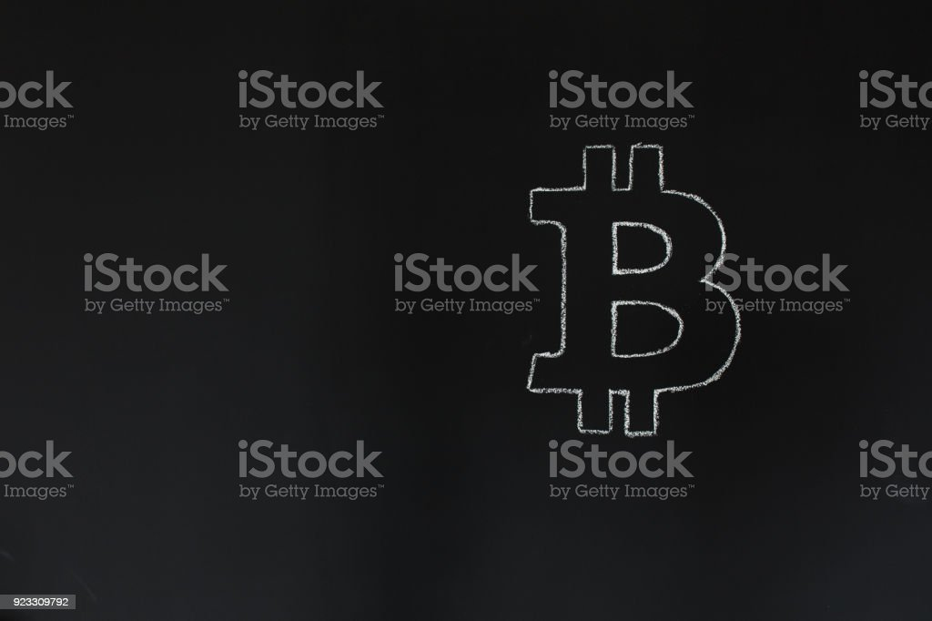 bitcoin concept chalk drawing on black board free copy space for