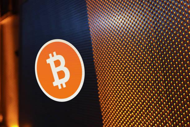 bitcoin concept - abstract logo stock photos and pictures