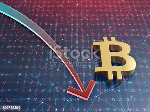 istock Bitcoin crash concept. Stock market arrow on digital background. 3d illustration. 899735354