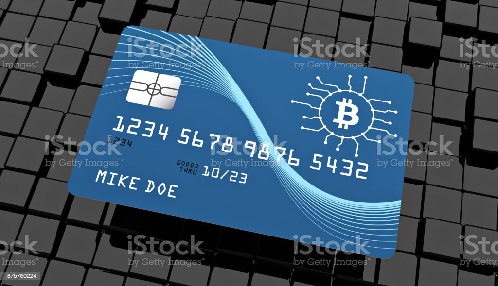Bitcoin credit card on black abstract background stock photo
