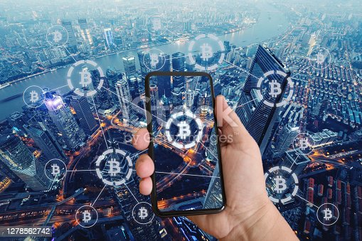 Bitcoin crypto currency blockchain network security technology mobile phone